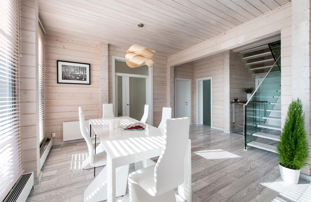 Стильный интерьер дома из профилированного бруса фото
