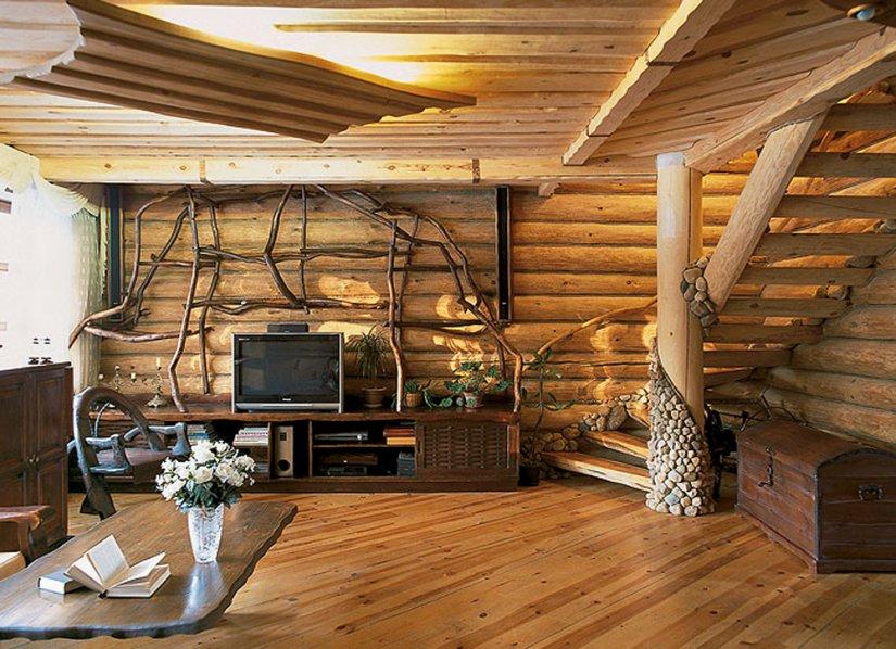 Интерьер деревянных домов внутри