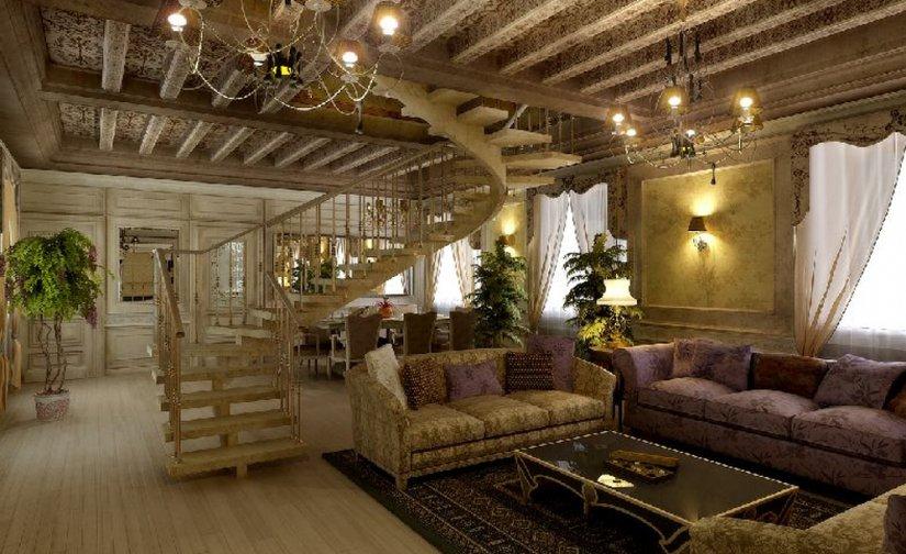 шикарный вид гостиной комнаты