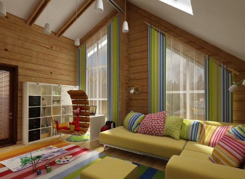 Фото Дизайн интерьеров домов из бруса 137