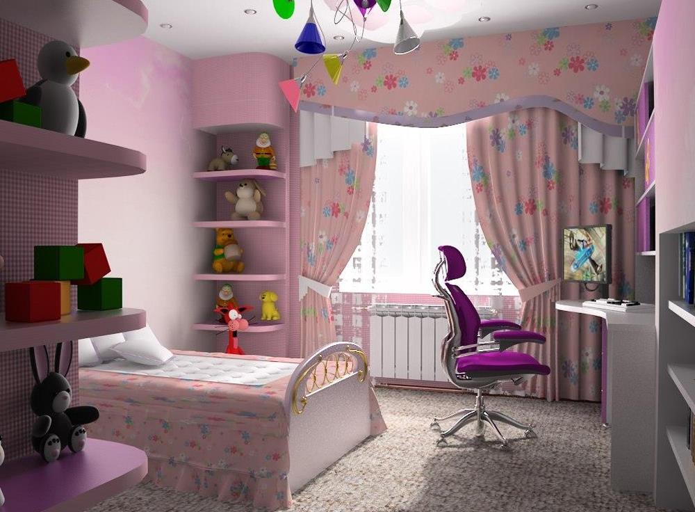 Дизайн детской комнаты для девочки на балконе.