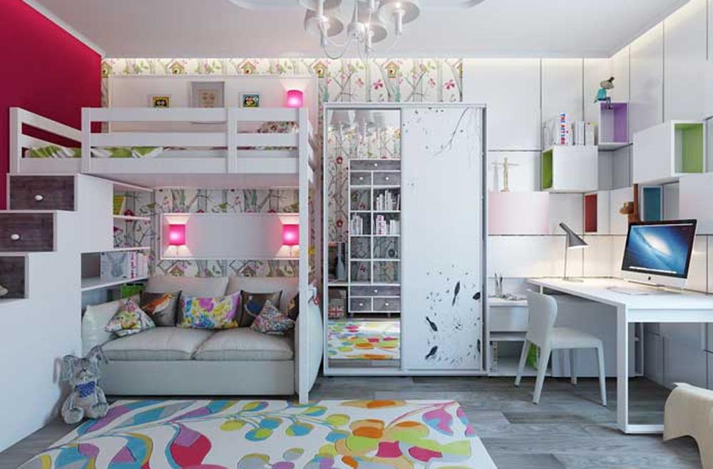 Интерьер с двухъярусными кроватями