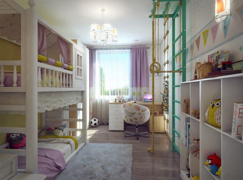 интерьер детской комнаты 12 кв. м для двух девочек