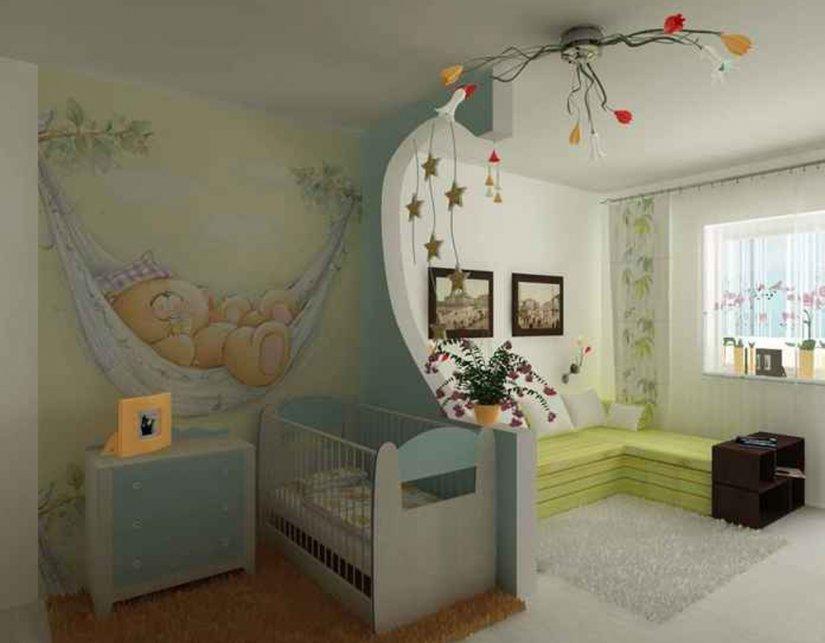 интерьер детской комнаты 12 кв. м для младенца