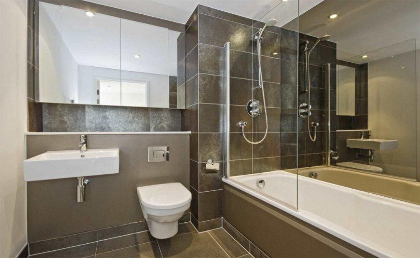современная ванная совмещенная с туалетом