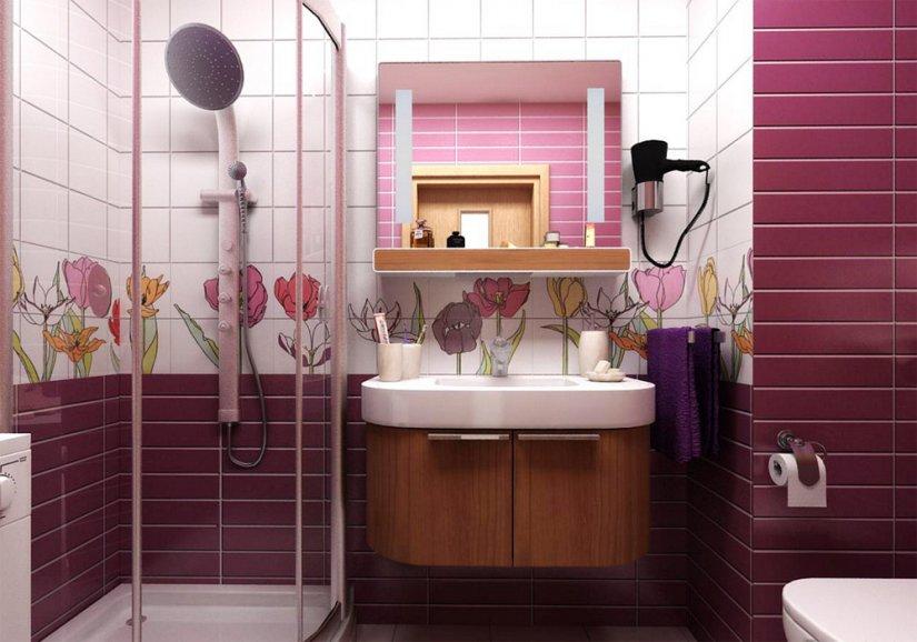 ванная совмещенная с туалетом в нежных тонах