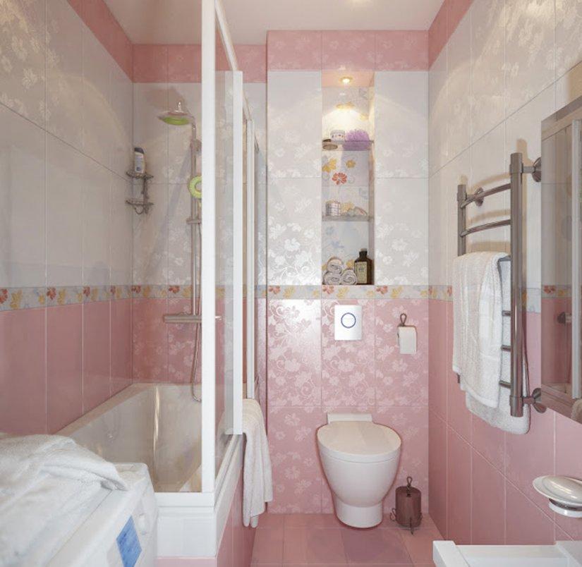 розовая ванная комната в хрущевку