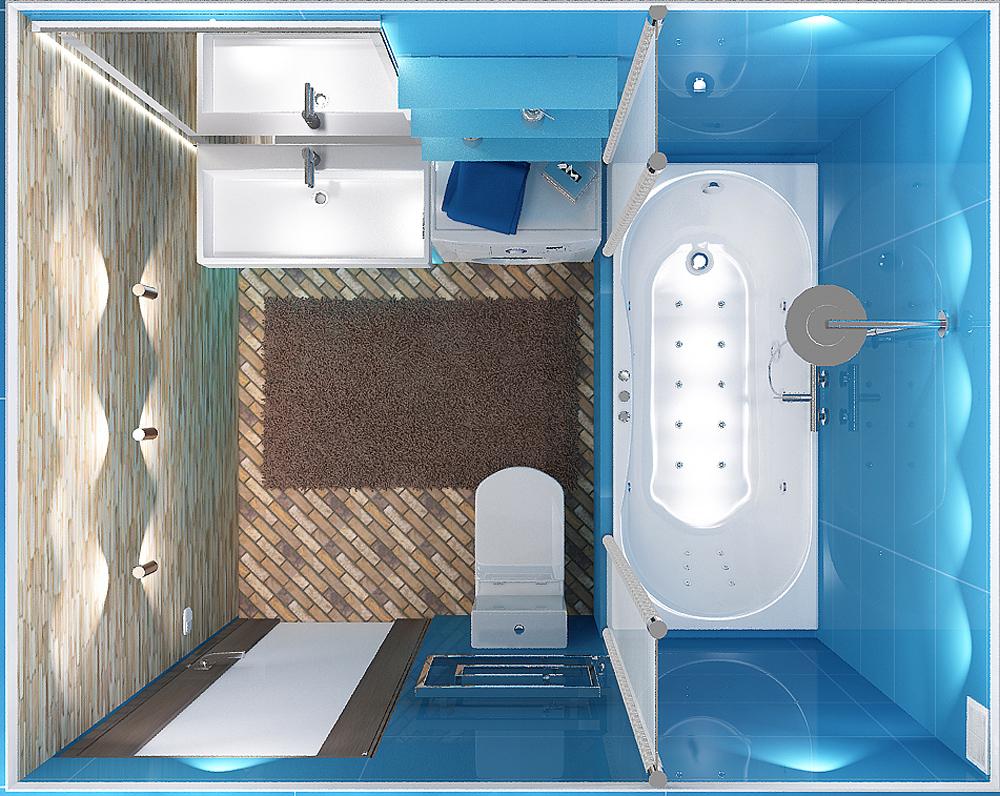 Интерьер и дизайн ванной комнаты 4 кв.м