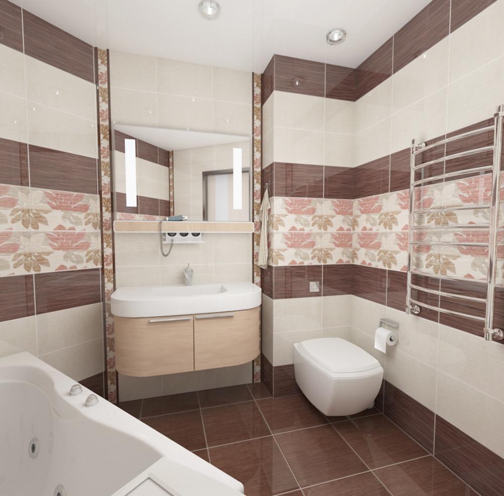 Дизайн кафельной плитки в ванной: Дизайн ванной комнаты плитка (30 фото)
