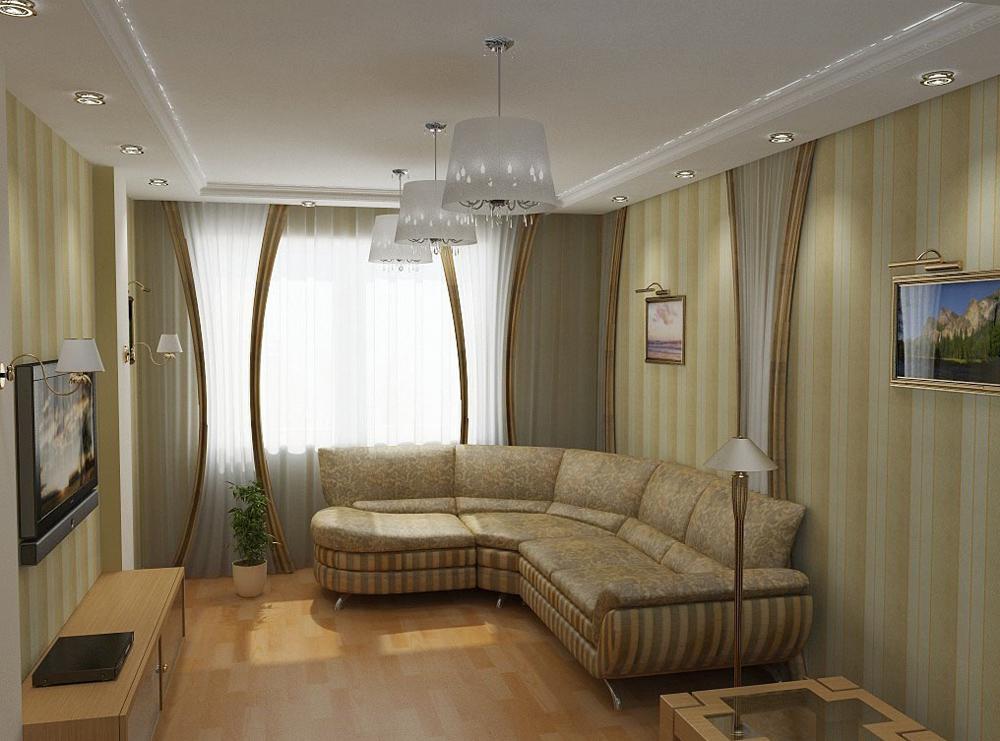 Интерьер гостиной с угловым диваном с фото
