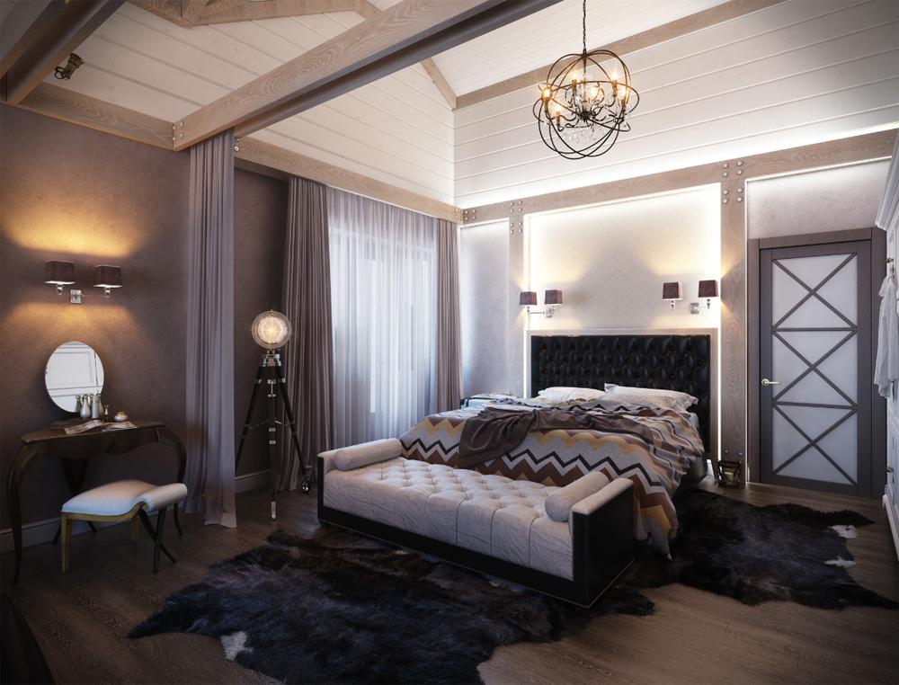 Дизайн спальни в загородном доме фото
